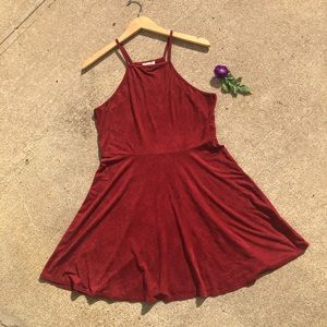 Burgundy Faux Suede Dress Large